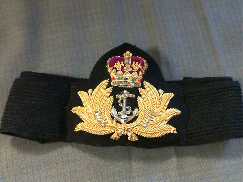 Australian RAN Hand embroidered Officer's cap badge with gold bullion wire  - Southside Antiques Centre